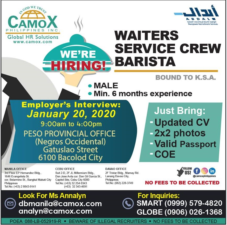 Special Recruitment Activity for Waiters, Service Crew and Barista bound to Kingdom of Saudi Arabia